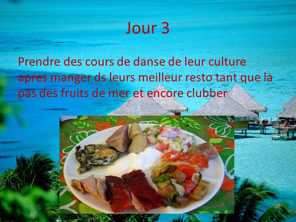 Jour 3 Prendre des cours de danse de leur culture apres manger ds leurs meilleur resto tant que la pas des fruits de mer et encore clubber