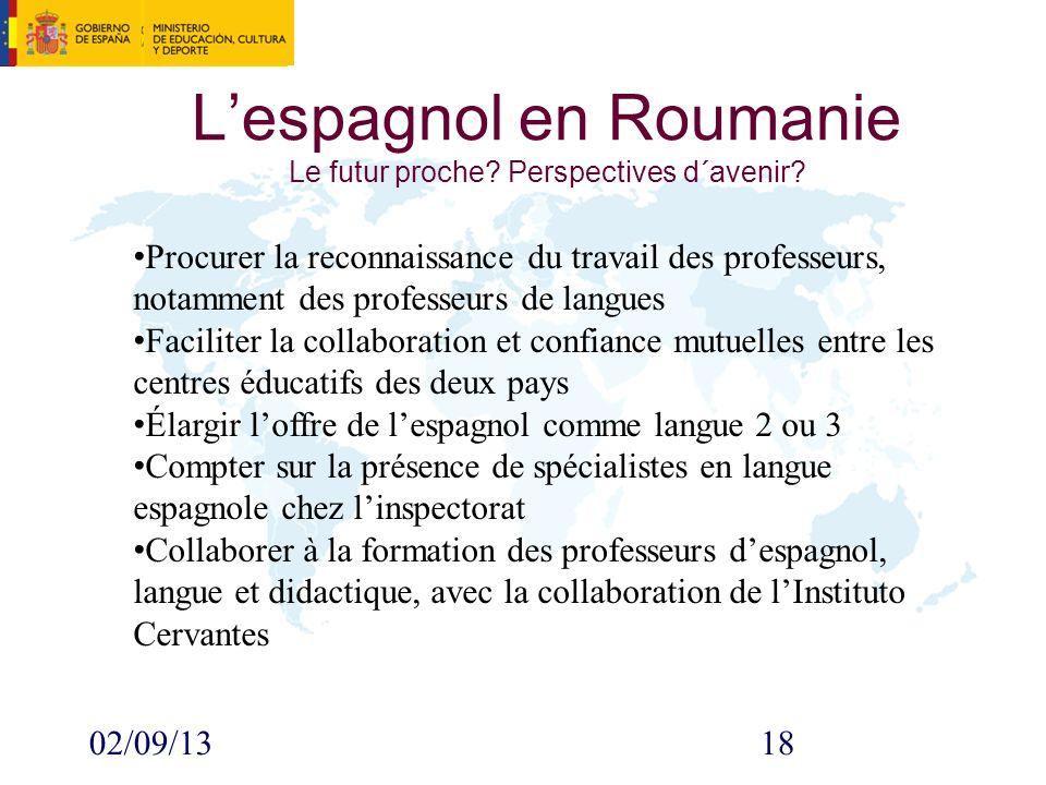 02/09/1318 Lespagnol en Roumanie Le futur proche.Perspectives d´avenir.