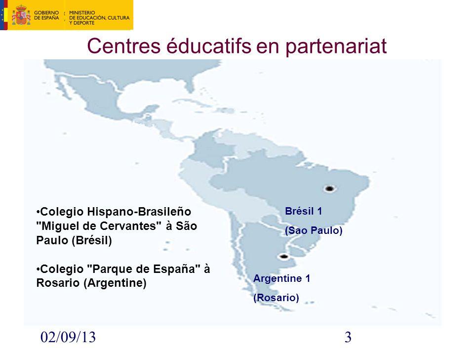 02/09/133 Centres éducatifs en partenariat Brésil 1 (Sao Paulo) Argentine 1 (Rosario) Colegio Hispano-Brasileño Miguel de Cervantes à São Paulo (Brésil) Colegio Parque de España à Rosario (Argentine)