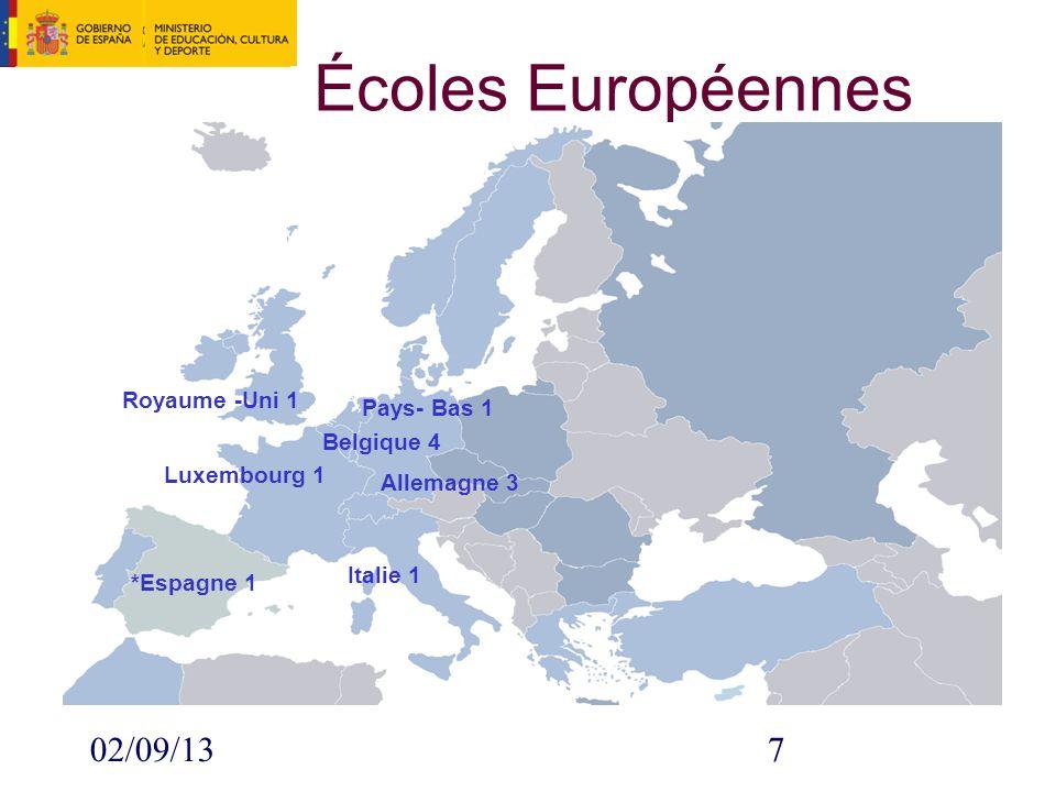 02/09/137 Écoles Européennes Royaume -Uni 1 Pays- Bas 1 Italie 1 *Espagne 1 Belgique 4 Luxembourg 1 Allemagne 3