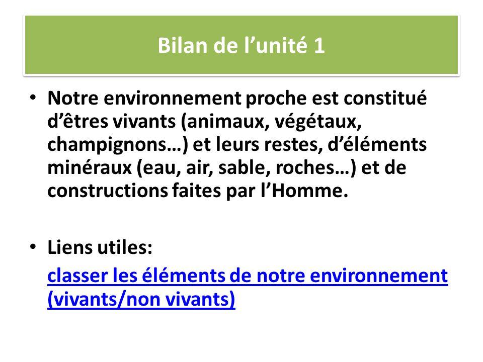 Bilan de lunité 1 Notre environnement proche est constitué dêtres vivants (animaux, végétaux, champignons…) et leurs restes, déléments minéraux (eau,