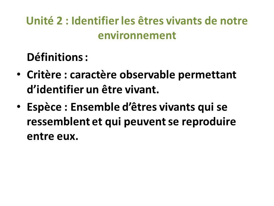 Unité 2 : Identifier les êtres vivants de notre environnement Définitions : Critère : caractère observable permettant didentifier un être vivant. Espè