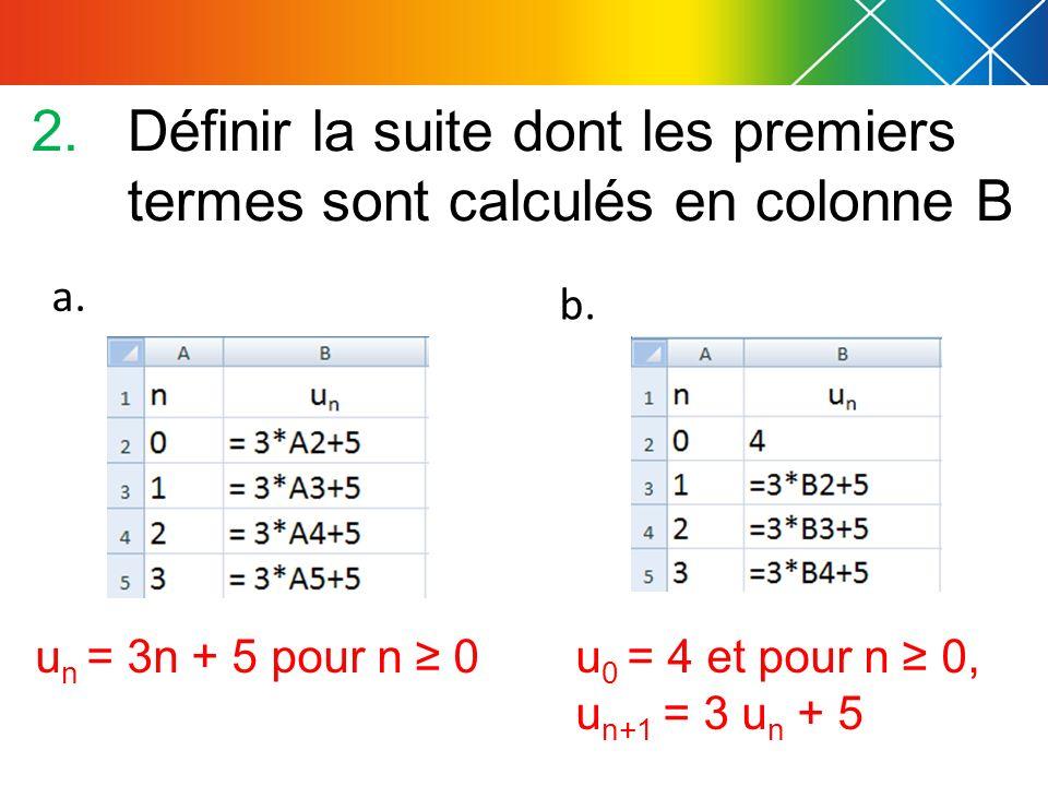 2.Définir la suite dont les premiers termes sont calculés en colonne B a. b. u n = 3n + 5 pour n 0u 0 = 4 et pour n 0, u n+1 = 3 u n + 5