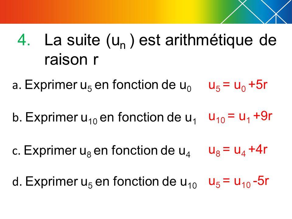 a. Exprimer u 5 en fonction de u 0 b. Exprimer u 10 en fonction de u 1 c. Exprimer u 8 en fonction de u 4 d. Exprimer u 5 en fonction de u 10 4.La sui