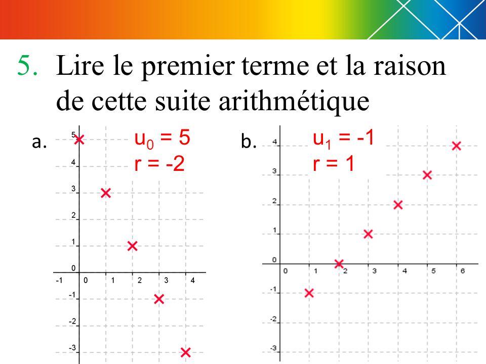 5.Lire le premier terme et la raison de cette suite arithmétique a. b. u 0 = 5 r = -2 u 1 = -1 r = 1