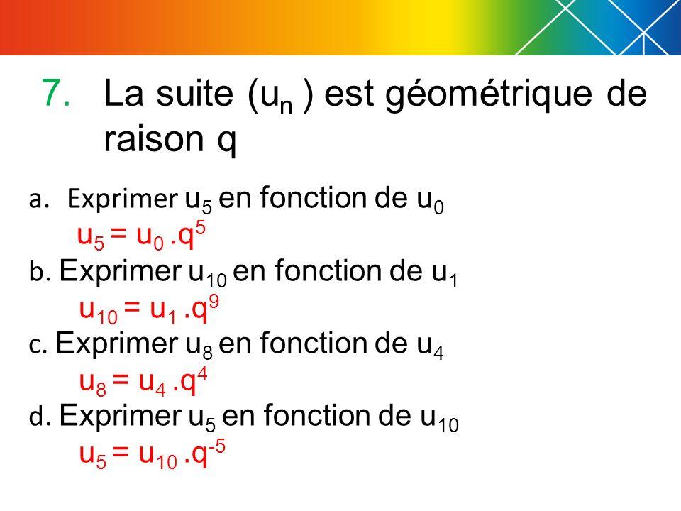 a.Exprimer u 5 en fonction de u 0 u 5 = u 0.q 5 b. Exprimer u 10 en fonction de u 1 u 10 = u 1.q 9 c. Exprimer u 8 en fonction de u 4 u 8 = u 4.q 4 d.