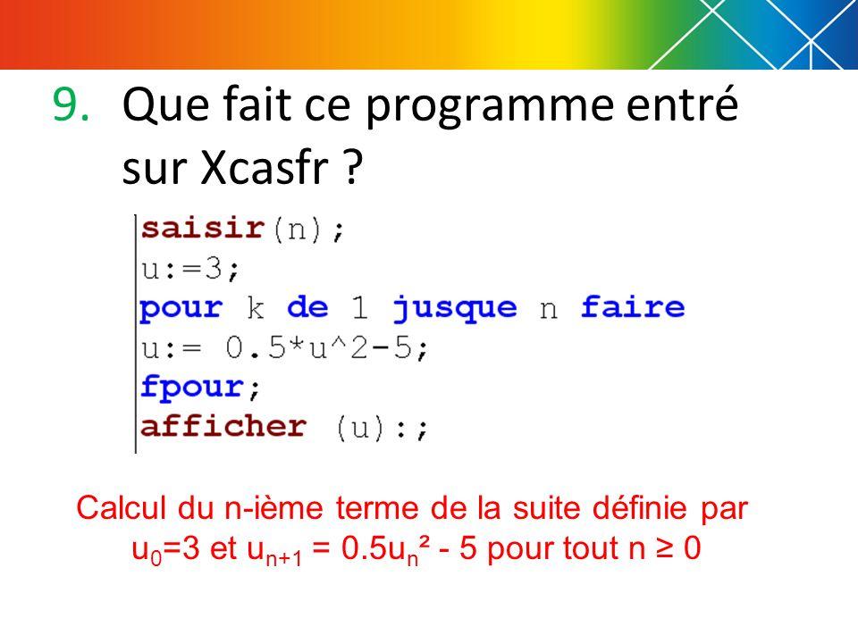 9.Que fait ce programme entré sur Xcasfr ? Calcul du n-ième terme de la suite définie par u 0 =3 et u n+1 = 0.5u n ² - 5 pour tout n 0