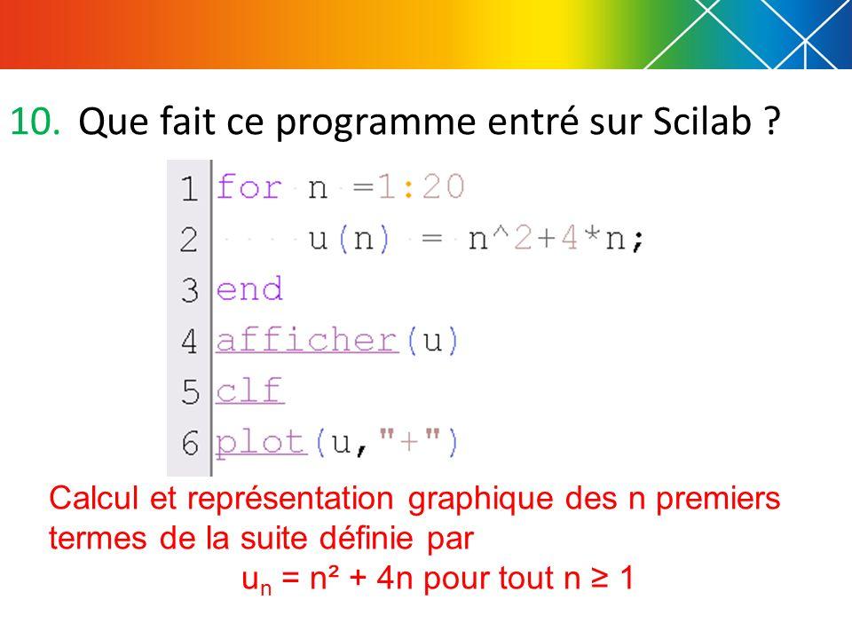10.Que fait ce programme entré sur Scilab ? Calcul et représentation graphique des n premiers termes de la suite définie par u n = n² + 4n pour tout n