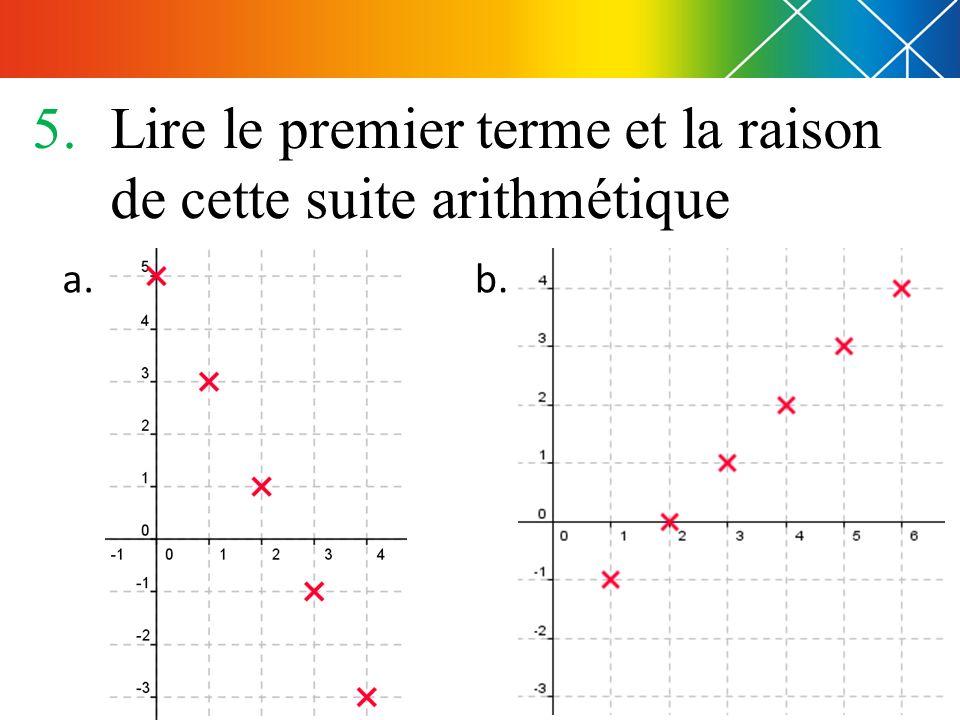 5.Lire le premier terme et la raison de cette suite arithmétique a. b.