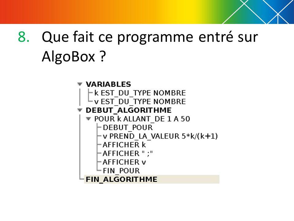 8.Que fait ce programme entré sur AlgoBox ?