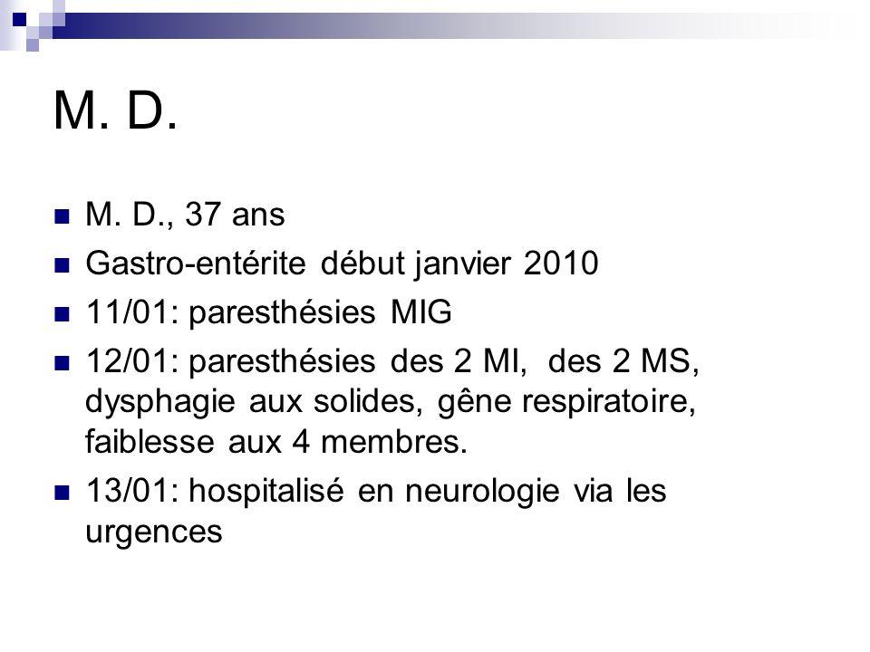 M. D. M. D., 37 ans Gastro-entérite début janvier 2010 11/01: paresthésies MIG 12/01: paresthésies des 2 MI, des 2 MS, dysphagie aux solides, gêne res