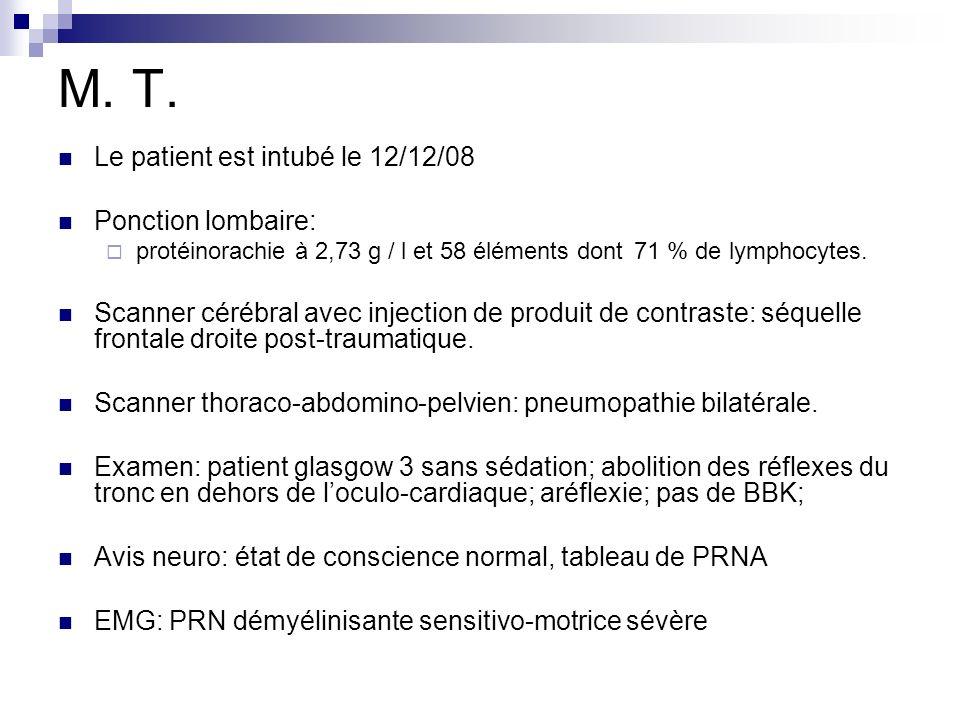 M. T. Le patient est intubé le 12/12/08 Ponction lombaire: protéinorachie à 2,73 g / l et 58 éléments dont 71 % de lymphocytes. Scanner cérébral avec