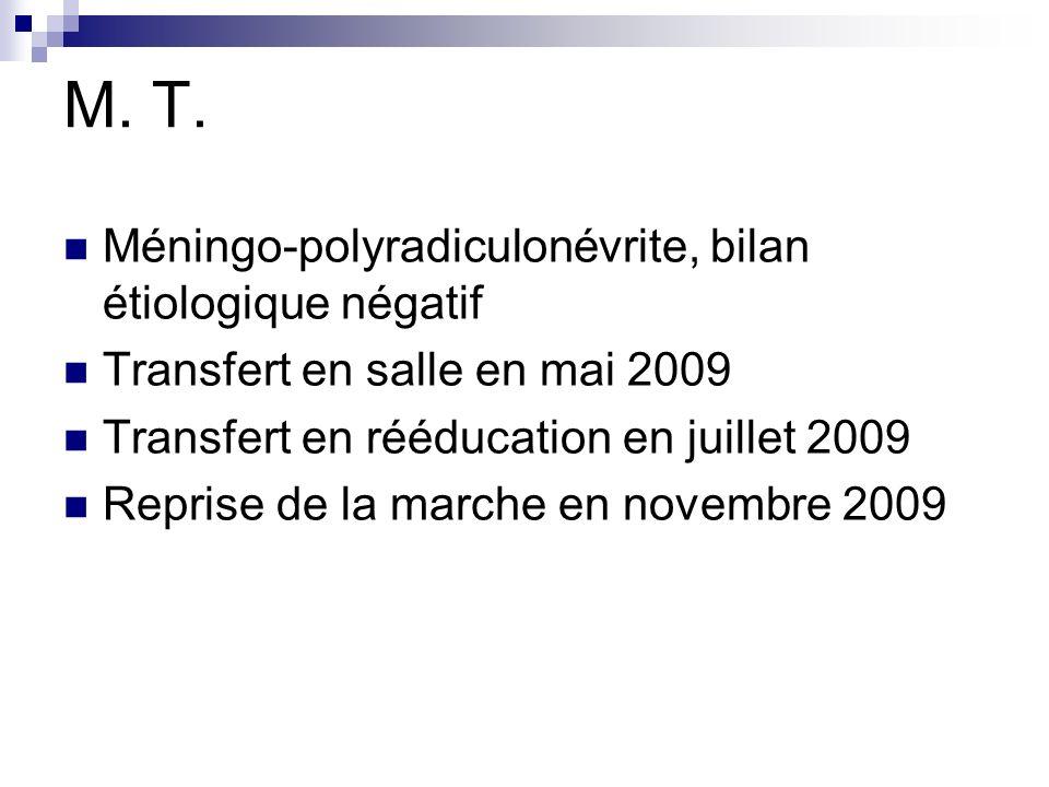 M. T. Méningo-polyradiculonévrite, bilan étiologique négatif Transfert en salle en mai 2009 Transfert en rééducation en juillet 2009 Reprise de la mar