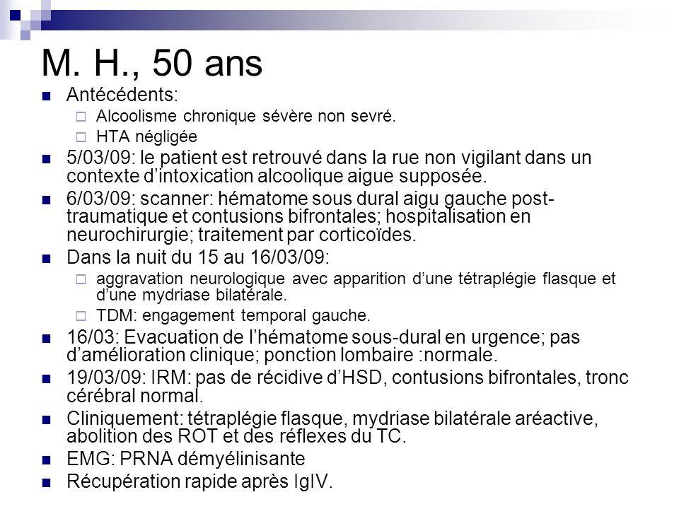 M. H., 50 ans Antécédents: Alcoolisme chronique sévère non sevré. HTA négligée 5/03/09: le patient est retrouvé dans la rue non vigilant dans un conte