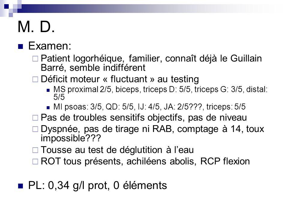 M. D. Examen: Patient logorhéique, familier, connaît déjà le Guillain Barré, semble indifférent Déficit moteur « fluctuant » au testing MS proximal 2/