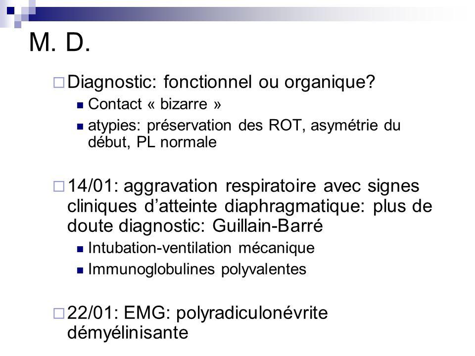 M. D. Diagnostic: fonctionnel ou organique? Contact « bizarre » atypies: préservation des ROT, asymétrie du début, PL normale 14/01: aggravation respi