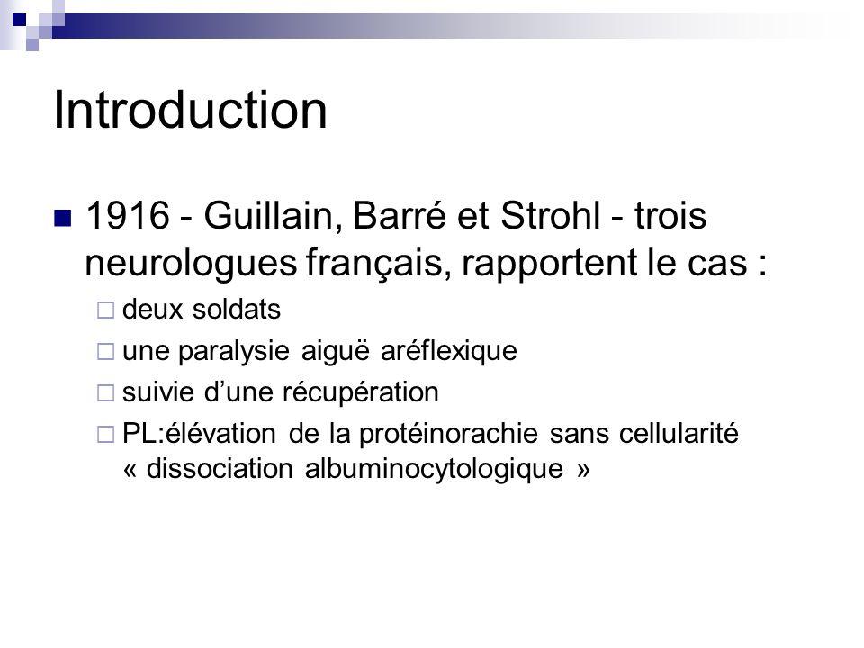 Introduction 1916 - Guillain, Barré et Strohl - trois neurologues français, rapportent le cas : deux soldats une paralysie aiguë aréflexique suivie du