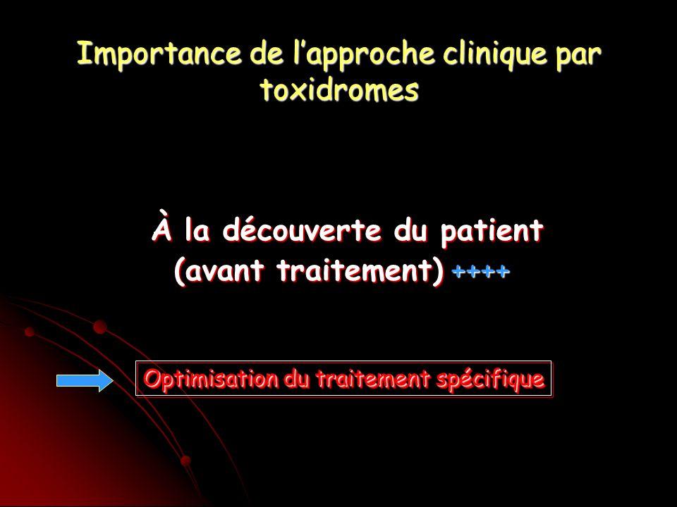 Importance de lapproche clinique par toxidromes À la découverte du patient À la découverte du patient (avant traitement) ++++ Optimisation du traitement spécifique