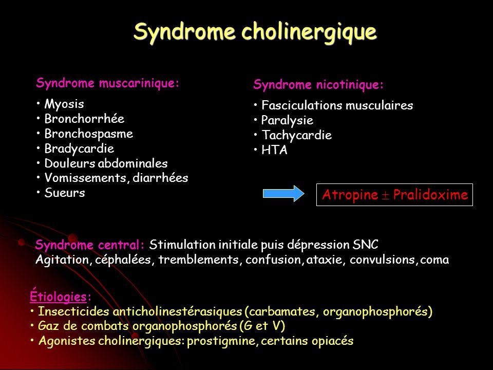 Syndrome cholinergique Syndrome muscarinique: Myosis Bronchorrhée Bronchospasme Bradycardie Douleurs abdominales Vomissements, diarrhées Sueurs Syndrome nicotinique: Fasciculations musculaires Paralysie Tachycardie HTA Étiologies: Insecticides anticholinestérasiques (carbamates, organophosphorés) Gaz de combats organophosphorés (G et V) Agonistes cholinergiques: prostigmine, certains opiacés Syndrome central: Stimulation initiale puis dépression SNC Agitation, céphalées, tremblements, confusion, ataxie, convulsions, coma Atropine Pralidoxime