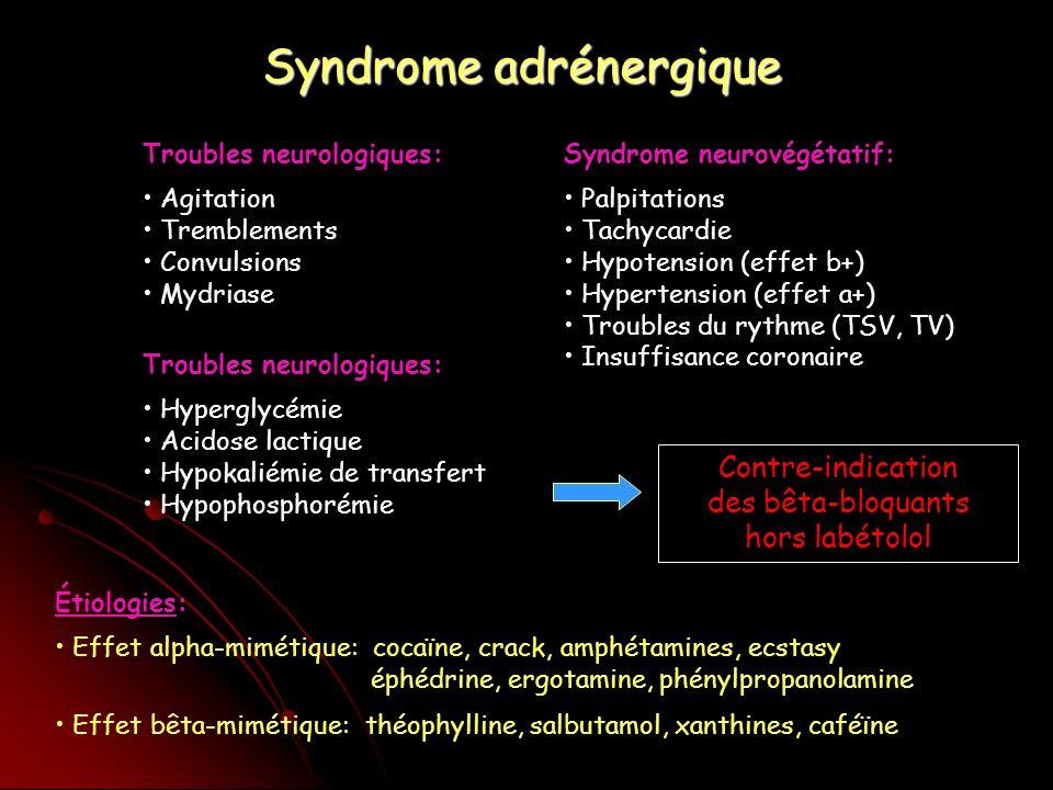 Syndrome adrénergique Troubles neurologiques: Agitation Tremblements Convulsions Mydriase Syndrome neurovégétatif: Palpitations Tachycardie Hypotension (effet b+) Hypertension (effet a+) Troubles du rythme (TSV, TV) Insuffisance coronaire Étiologies: Effet alpha-mimétique: cocaïne, crack, amphétamines, ecstasy éphédrine, ergotamine, phénylpropanolamine Effet bêta-mimétique: théophylline, salbutamol, xanthines, caféïne Troubles neurologiques: Hyperglycémie Acidose lactique Hypokaliémie de transfert Hypophosphorémie Contre-indication des bêta-bloquants hors labétolol
