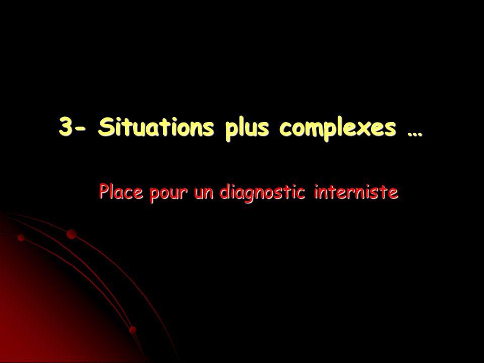 3- Situations plus complexes … Place pour un diagnostic interniste
