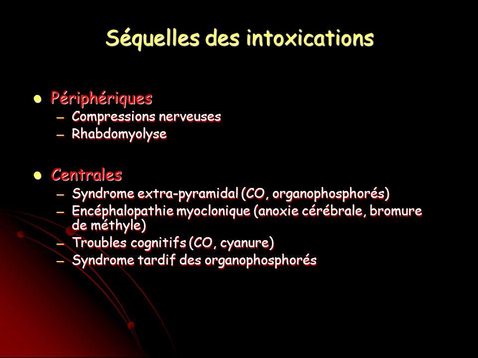 Séquelles des intoxications Périphériques Périphériques Compressions nerveuses Compressions nerveuses Rhabdomyolyse Rhabdomyolyse Centrales Centrales Syndrome extra-pyramidal (CO, organophosphorés) Syndrome extra-pyramidal (CO, organophosphorés) Encéphalopathie myoclonique (anoxie cérébrale, bromure de méthyle) Encéphalopathie myoclonique (anoxie cérébrale, bromure de méthyle) Troubles cognitifs (CO, cyanure) Troubles cognitifs (CO, cyanure) Syndrome tardif des organophosphorés Syndrome tardif des organophosphorés