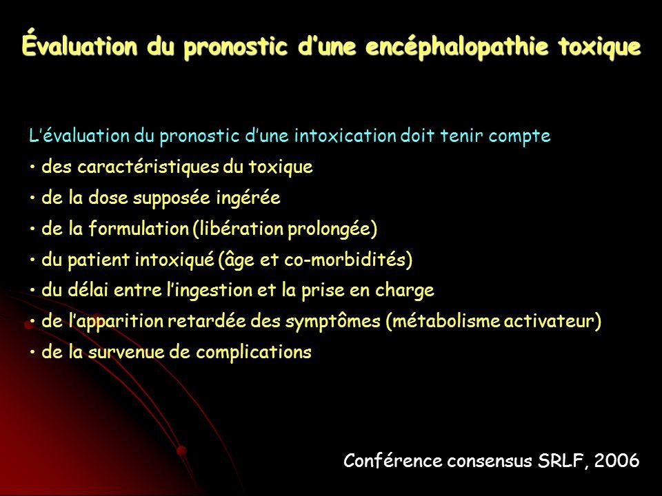 Lévaluation du pronostic dune intoxication doit tenir compte des caractéristiques du toxique de la dose supposée ingérée de la formulation (libération prolongée) du patient intoxiqué (âge et co-morbidités) du délai entre lingestion et la prise en charge de lapparition retardée des symptômes (métabolisme activateur) de la survenue de complications Évaluation du pronostic dune encéphalopathie toxique Conférence consensus SRLF, 2006