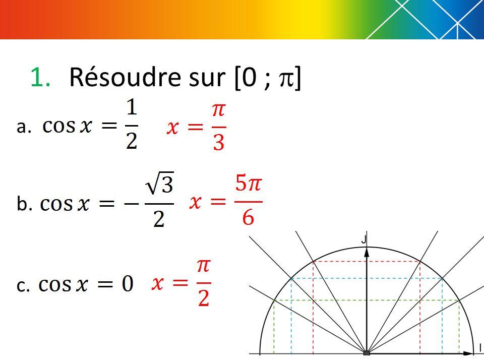 1.Résoudre sur [0 ; ] a. b. c.