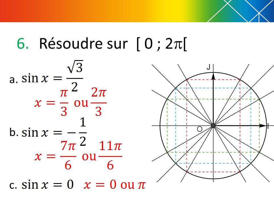 6.Résoudre sur [ 0 ; 2 [ a. b. c.