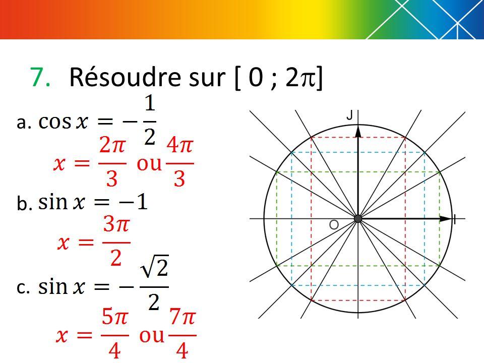 7.Résoudre sur [ 0 ; 2 ] a. b. c.