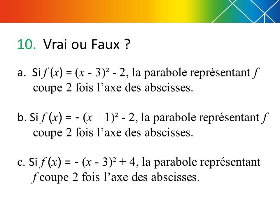 10. Vrai ou Faux ? a. Si f ( x ) = (x - 3)² - 2, la parabole représentant f coupe 2 fois laxe des abscisses. b. Si f ( x ) = - (x +1)² - 2, la parabol