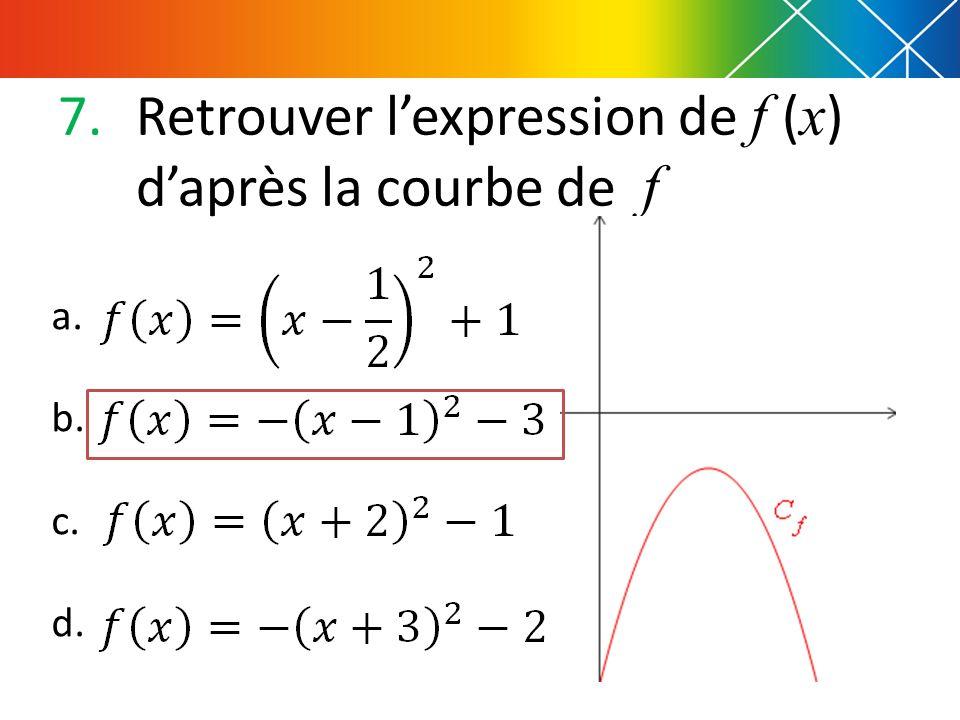 7.Retrouver lexpression de f ( x ) daprès la courbe de f a. b. c. d.