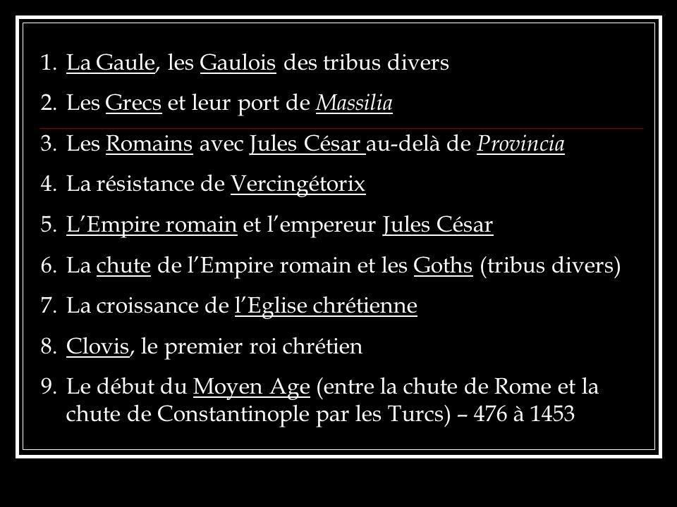 1.La Gaule, les Gaulois des tribus divers 2.Les Grecs et leur port de Massilia 3.Les Romains avec Jules César au-delà de Provincia 4.La résistance de