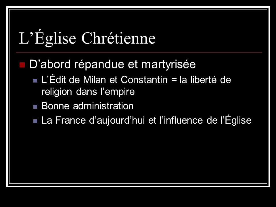 LÉglise Chrétienne Dabord répandue et martyrisée LÉdit de Milan et Constantin = la liberté de religion dans lempire Bonne administration La France dau
