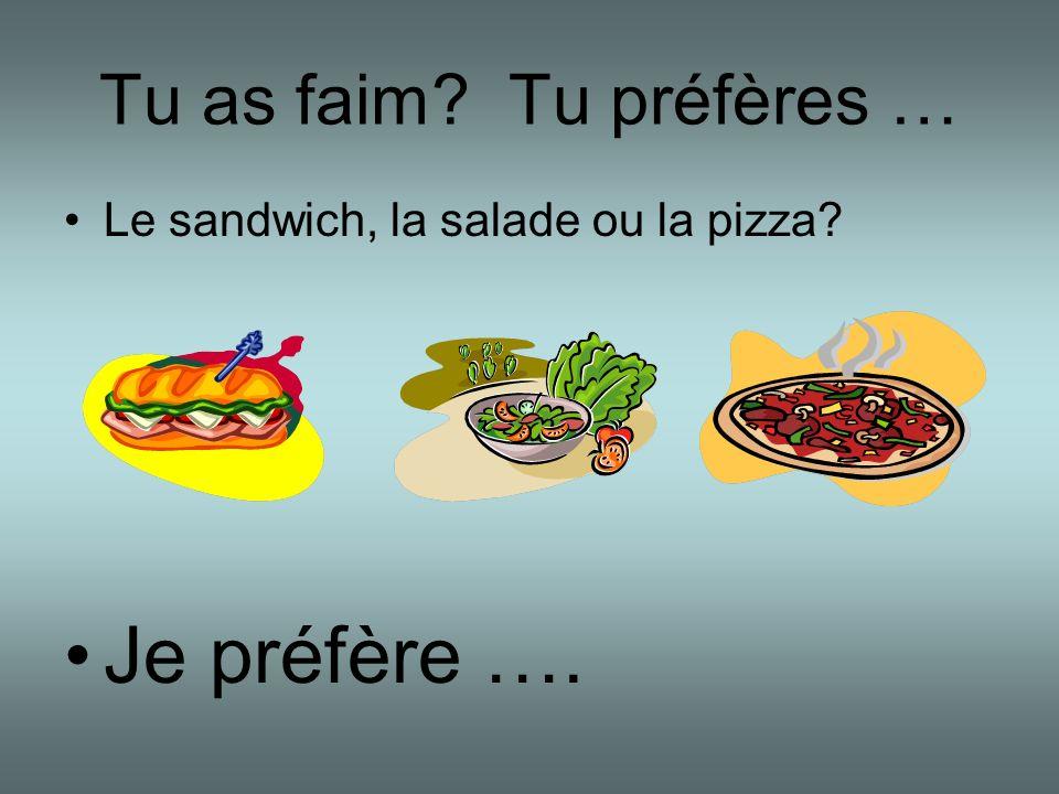 Tu as faim? Tu préfères … Le sandwich, la salade ou la pizza? Je préfère ….