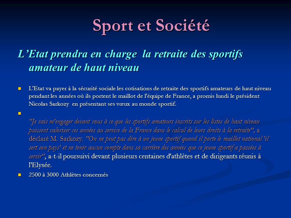 LEtat prendra en charge la retraite des sportifs amateur de haut niveau L Etat va payer à la sécurité sociale les cotisations de retraite des sportifs amateurs de haut niveau pendant les années où ils portent le maillot de l équipe de France, a promis lundi le président Nicolas Sarkozy en présentant ses vœux au monde sportif.