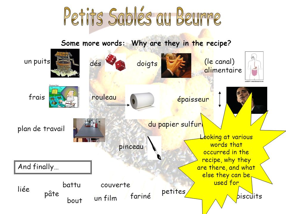 Some more words: Why are they in the recipe? un puits désdoigts liée pâte bout un film (le canal) alimentaire fraisrouleau épaisseur plan de travail f