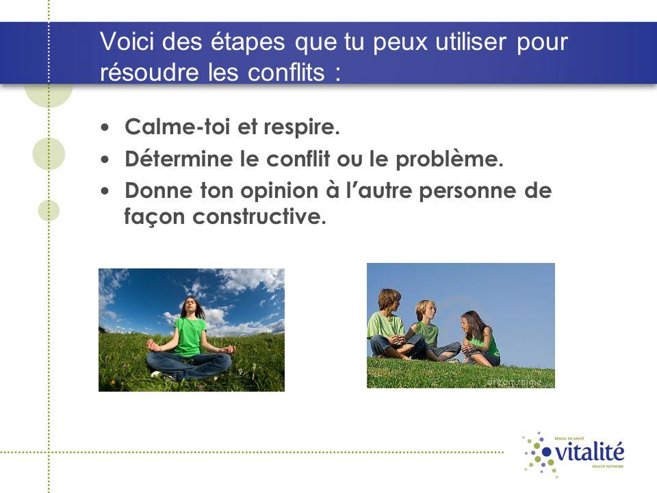 Voici des étapes que tu peux utiliser pour résoudre les conflits : Calme-toi et respire.