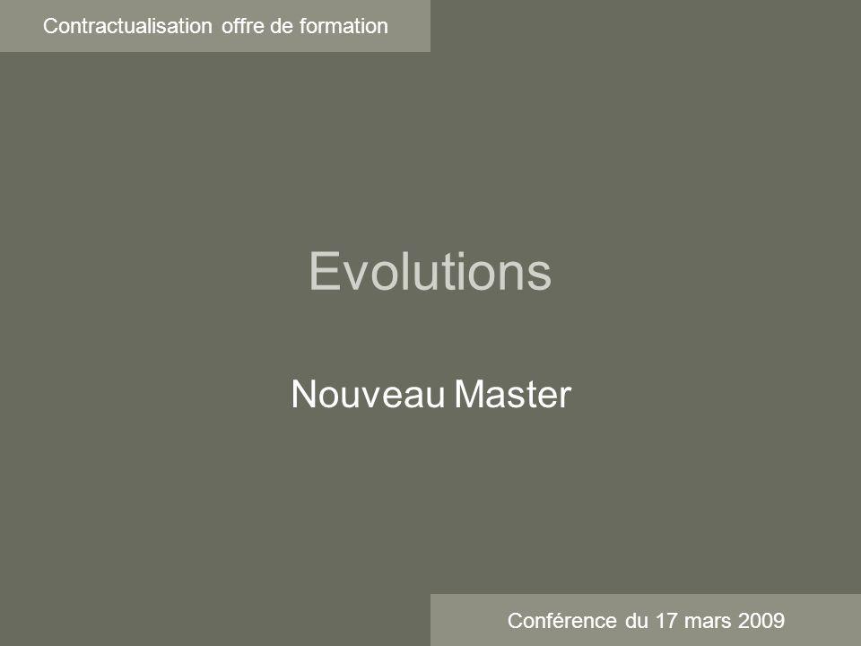 Evolutions Contractualisation offre de formation Nouveau Master Conférence du 17 mars 2009