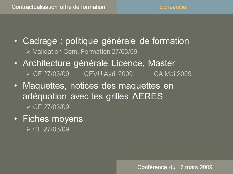 Cadrage : politique générale de formation Validation Com.