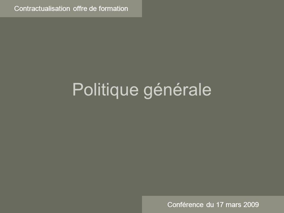 Politique générale Contractualisation offre de formation Conférence du 17 mars 2009