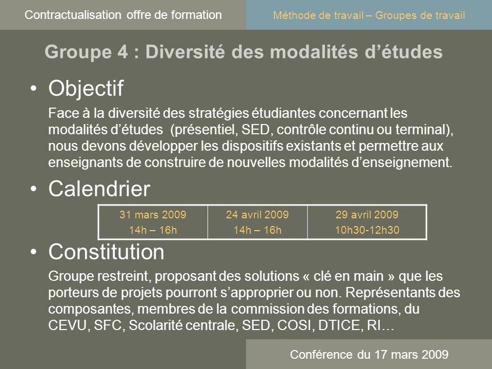 Objectif Face à la diversité des stratégies étudiantes concernant les modalités détudes (présentiel, SED, contrôle continu ou terminal), nous devons développer les dispositifs existants et permettre aux enseignants de construire de nouvelles modalités denseignement.