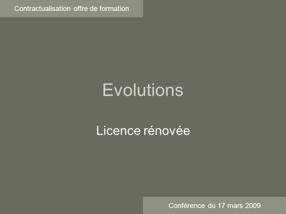 Evolutions Contractualisation offre de formation Licence rénovée Conférence du 17 mars 2009