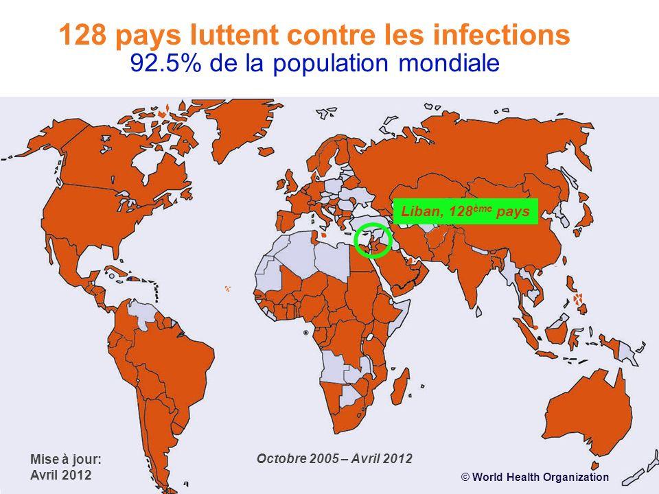 © World Health Organization Liban, 128 ème pays Mise à jour: Avril 2012 Octobre 2005 – Avril 2012 128 pays luttent contre les infections 92.5% de la p