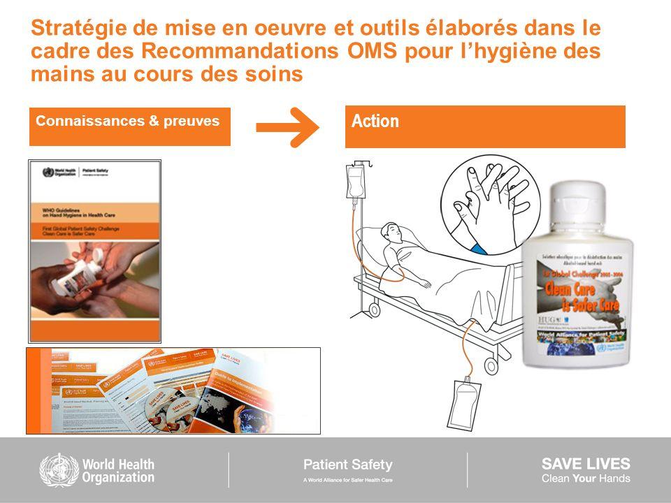Stratégie de mise en oeuvre et outils élaborés dans le cadre des Recommandations OMS pour lhygiène des mains au cours des soins Connaissances & preuve