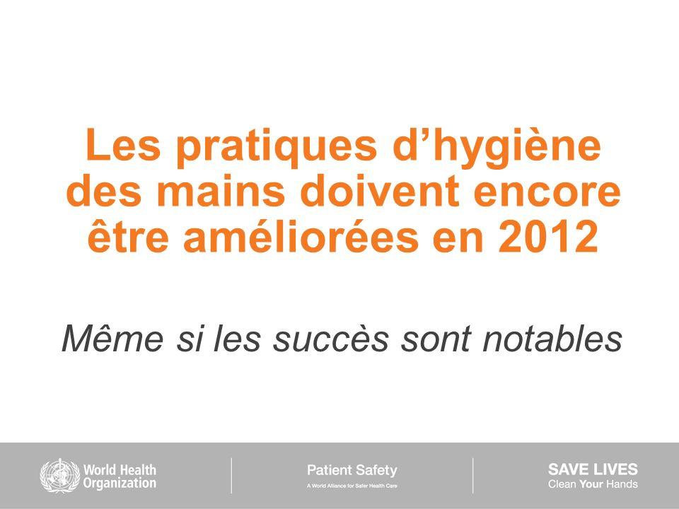 Les pratiques dhygiène des mains doivent encore être améliorées en 2012 Même si les succès sont notables