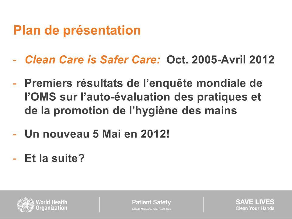 Plan de présentation -Clean Care is Safer Care: Oct. 2005-Avril 2012 -Premiers résultats de lenquête mondiale de lOMS sur lauto-évaluation des pratiqu