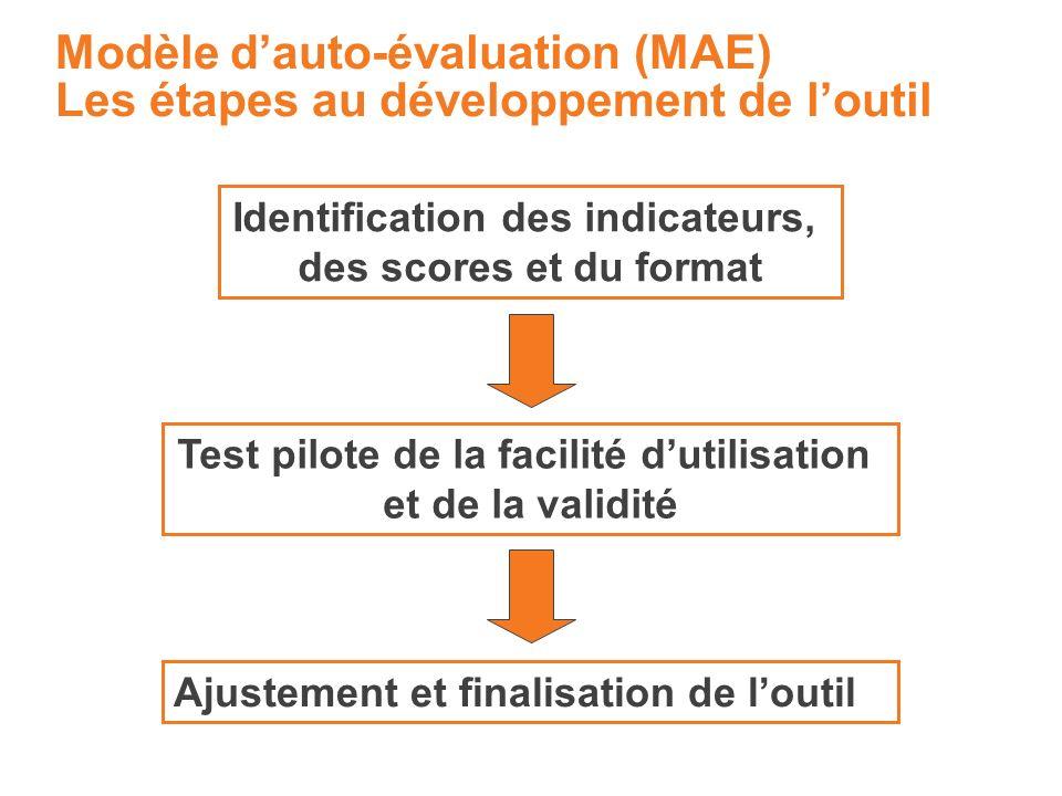 Modèle dauto-évaluation (MAE) Les étapes au développement de loutil Identification des indicateurs, des scores et du format Test pilote de la facilité