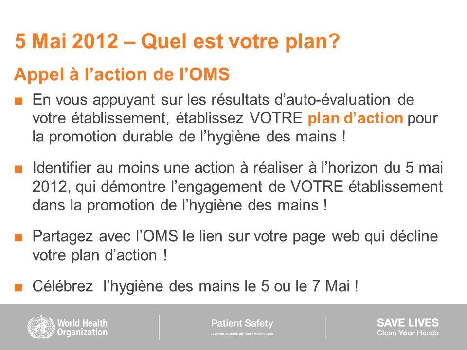 5 Mai 2012 – Quel est votre plan? Appel à laction de lOMS En vous appuyant sur les résultats dauto-évaluation de votre établissement, établissez VOTRE