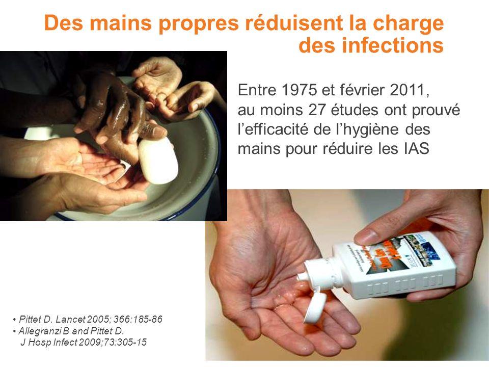 Des mains propres réduisent la charge des infections Entre 1975 et février 2011, au moins 27 études ont prouvé lefficacité de lhygiène des mains pour